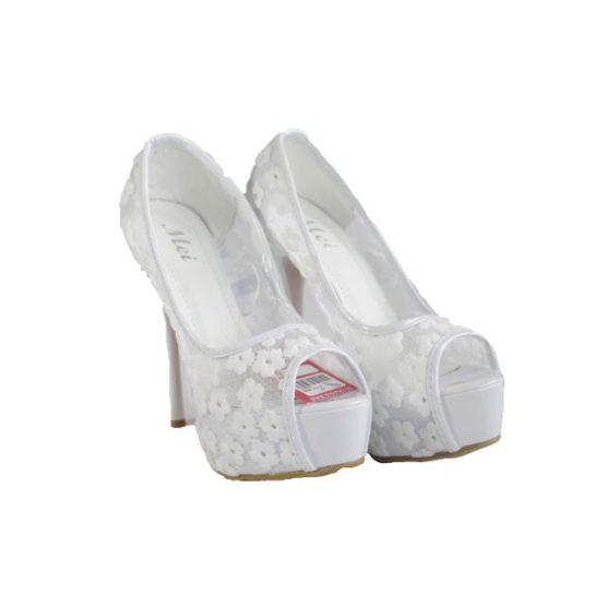 Sandale cu toc albe Lora