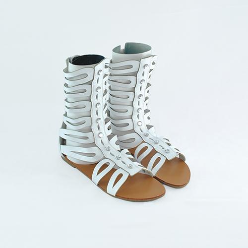 Sandale Gladiator Tara albe
