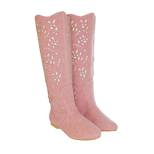 Cizme de vara perforate Sofia roz