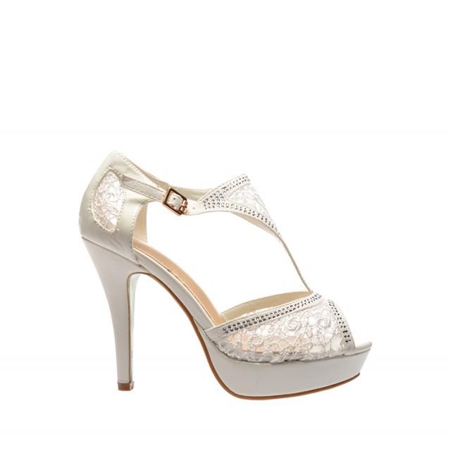 Sandale De Mireasa Cu Toc Luxe Albe Sandale Gladiator