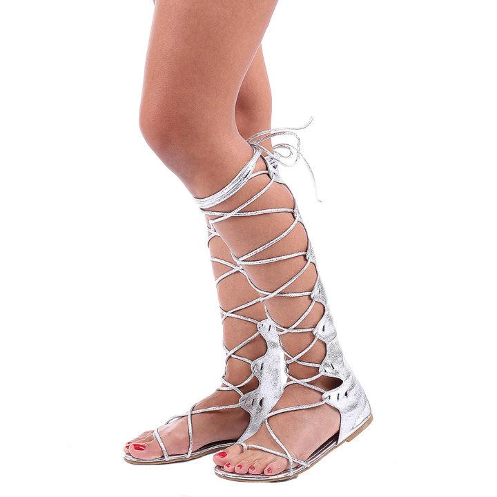 Sandale Gladiator Sonya argintii